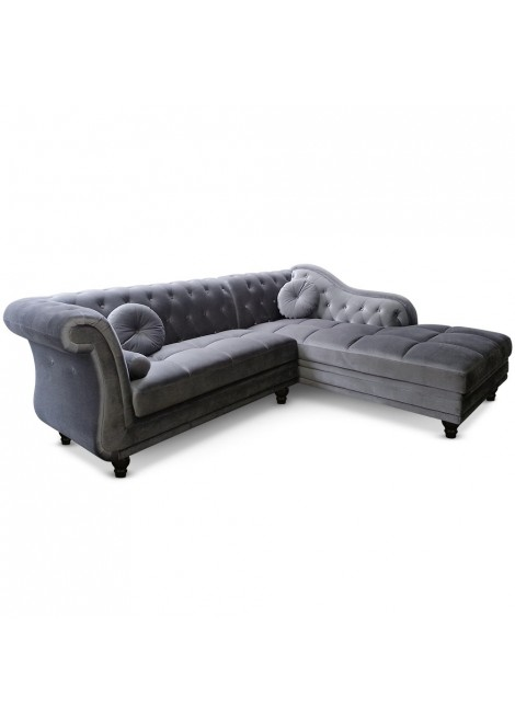 canap d 39 angle brittish velours argent style chesterfield. Black Bedroom Furniture Sets. Home Design Ideas