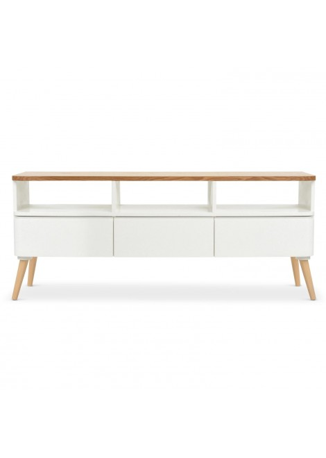 Meuble tv scandinave bergen bois et blanc cornermeuble for Meuble tv blanc et bois