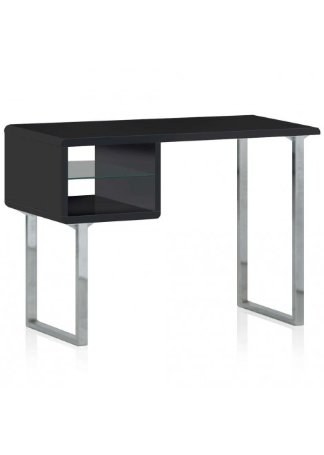 bureau bois laqu et inox paolo noir. Black Bedroom Furniture Sets. Home Design Ideas