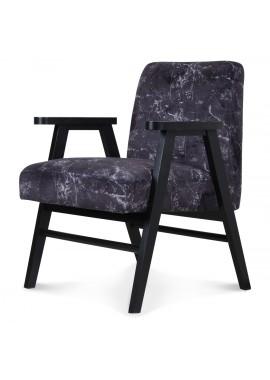 Fauteuil scandinave bois et tissu effet marbre noir Oslo