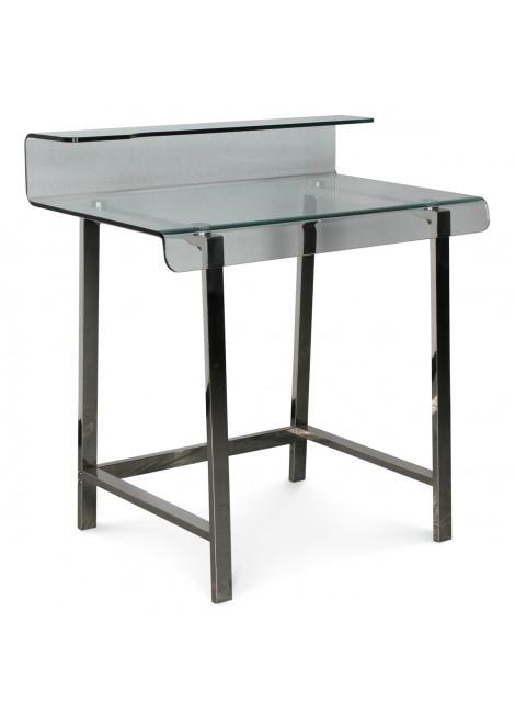 Bureau en verre pieds métal chromé Cyber (L.85xP.56xH.90cm) Mobilier d'intérieur