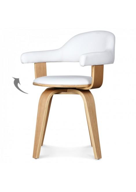 chaise sudoise pivotante simili cuir blanc et bois mobilier dintrieur - Chaise Suedoise