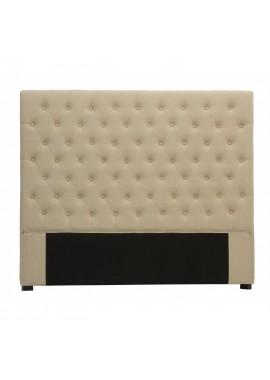 Tête de lit capitonnée 140 cm lin beige Chesterfield Amélie