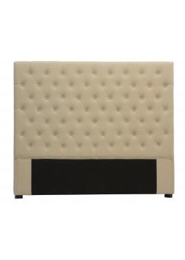 Tête de lit capitonnée 160 cm lin beige Chesterfield Amélie