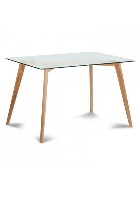 Table de repas verre et bois scandinave Fiord (180x90xH.75cm)