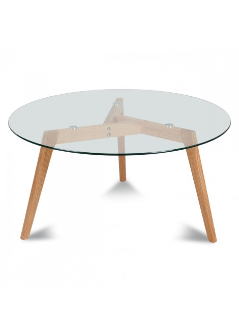 Table de repas ronde verre et bois scandinave Fiord (D.110xH.75cm)