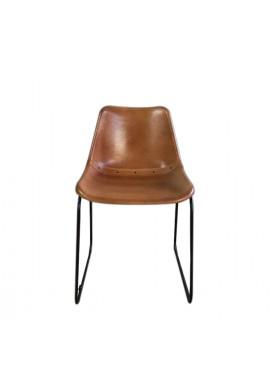 Chaise métal et cuir marron Havane