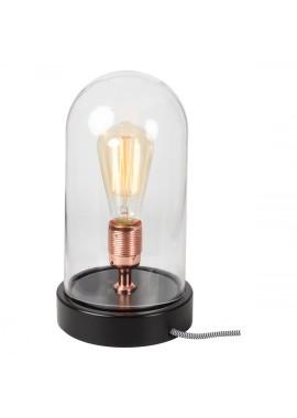 Lampe cloche 1 douille cuivrée verre et bois noir (D.16xH.28cm)