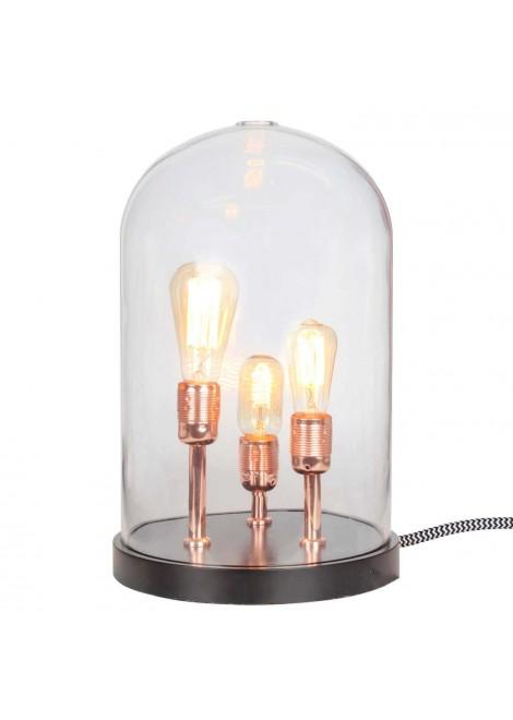 lampe cloche 3 douilles cuivr es verre socle en bois noir. Black Bedroom Furniture Sets. Home Design Ideas