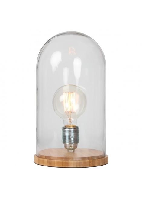 lampe cloche en verre socle en bois de bambou. Black Bedroom Furniture Sets. Home Design Ideas