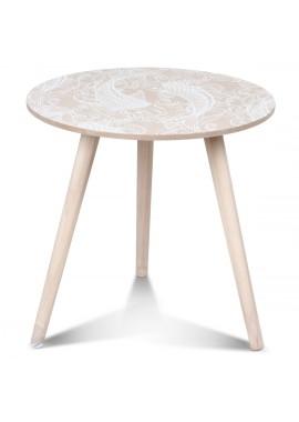 Table basse scandinave en bois blanc Vick Tatoo (D.40xH.40cm)