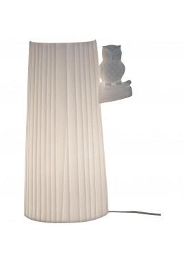 Lampe en porcelaine biscuit Hibou sur une branche (H.24cm)