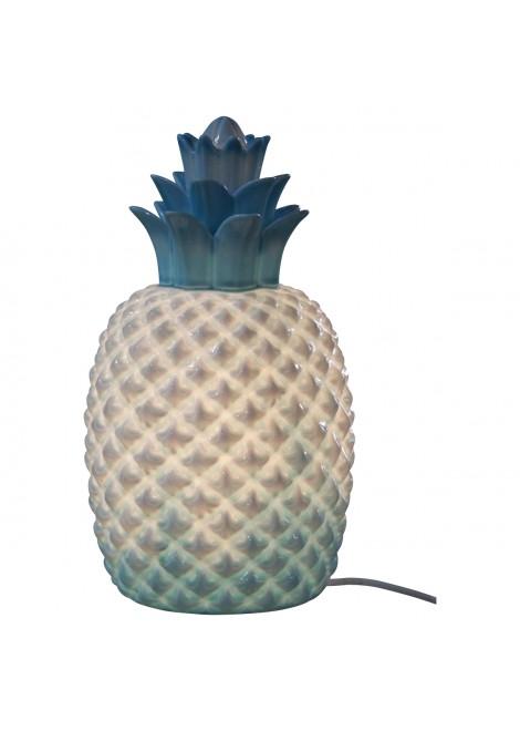 Lampe en porcelaine biscuit Ananas bleue (H.30cm)