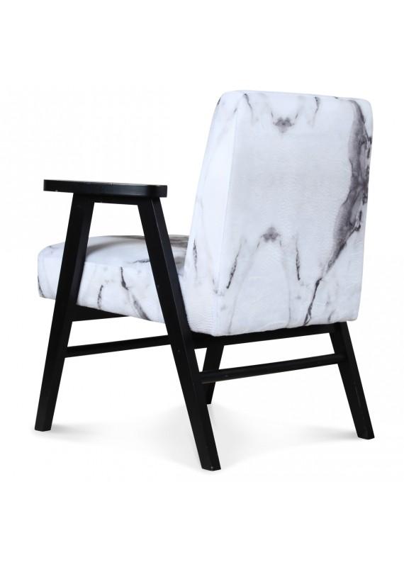 fauteuil scandinave bois et tissu effet marbre blanc oslo couleur. Black Bedroom Furniture Sets. Home Design Ideas
