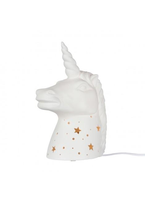 Lampe en porcelaine biscuit Licorne (H.25cm)
