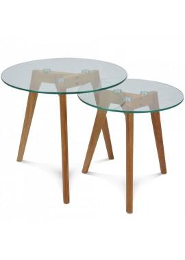 Set de 2 tables basses en verre gigognes rondes scandinave Fiord (D.40 et 50 cm) hévéas huié