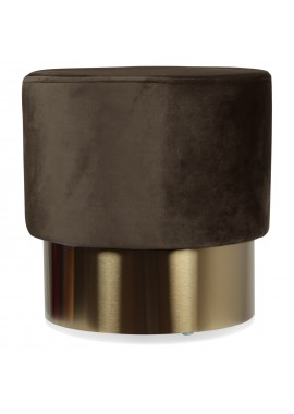 Tabouret base métal velours smoke Serge (D.35xH.35cm)