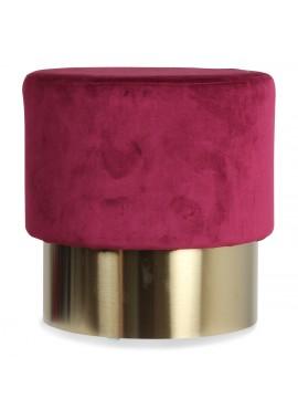 Tabouret base métal velours rouge wine Serge (D.35xH.35cm)