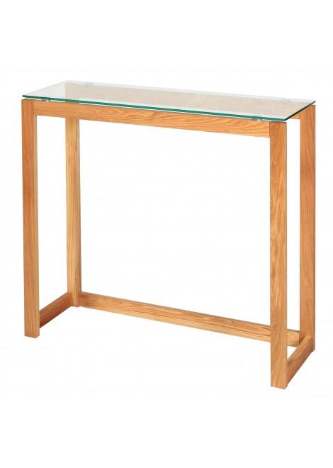 Console bureau en bois plateau en verre Nordic (L.100xP.32xH.75cm)