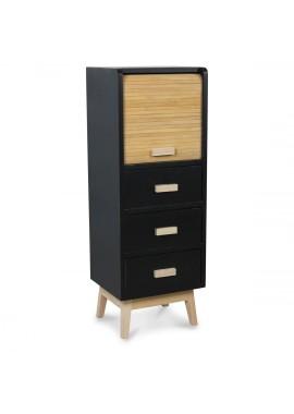 Semainier à 3 tiroirs design scandinave Roll noir (L.30xl25xH.83cm)