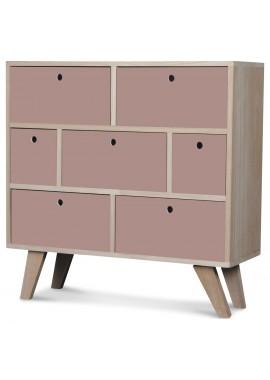 Commode en bois scandinave 7 tiroirs poudre Boréal (L.60xP.25xH.69cm)